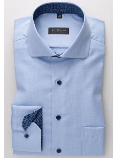 Eterna Sky Blue Self Check Shirt