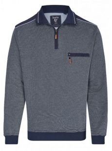 Hajo Navy Stitch Quarter Zip Sweatshirt