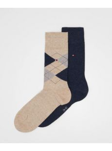 Tommy Hilfiger 2-Pack Beige Check Sock